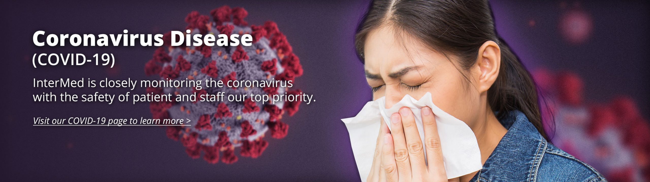 A photo of a woman sneezing into a tissue with Coronavirus, COVID-19